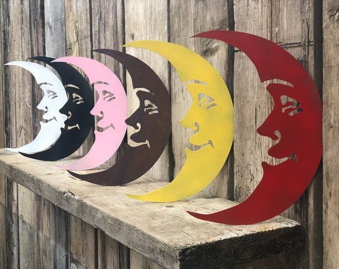 Shabby Chic signs , Rustic Coloured Metal MOON , Garden Ornament  , novelty Sign , home Decoration for inside or out.