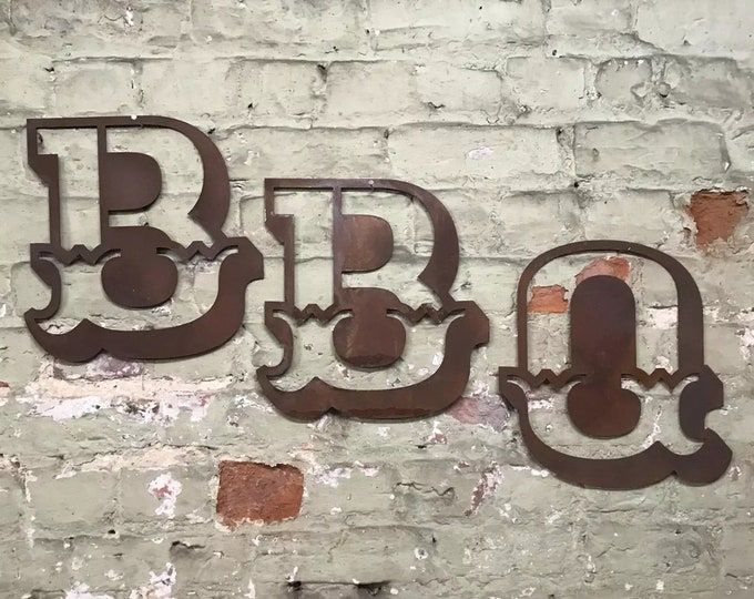 RUSTY METAL BBQ sign , rusty letters, shop front letters , home sign , house name, metal lettering , garden bar , party decoration