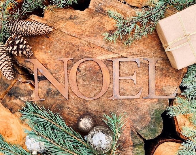 Rustic RUSTY NOEL mantle CHRISTMAS Lettering Word  Sign Metal Nordic decoration