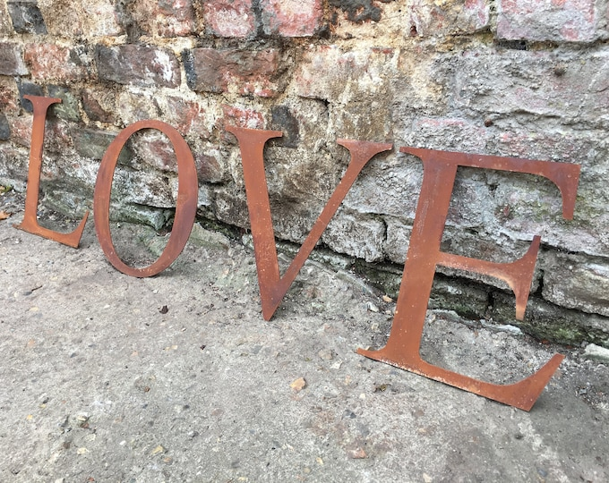 LOVE , Rusty metal word , metal letters, shop sign , home garden sign , house name, lettering, rusted, industrial, vintage letters ,