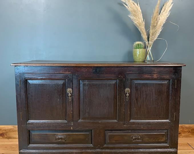 18th Century Antique Oak Coffer Sideboard Table Storage Box Linen Cupboard
