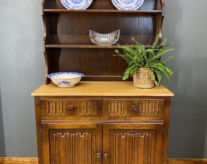 Vintage Oak Dresser / Antique Oak / Rustic Oak Kitchen Cupboard / Linenfold