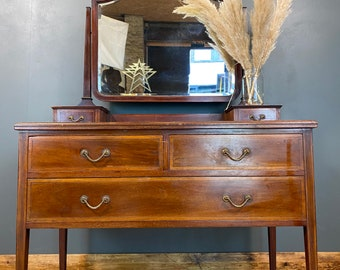 Antique Mahogany Chest Of Drawers / Bedroom Dresser / Edwardian Dressing Table