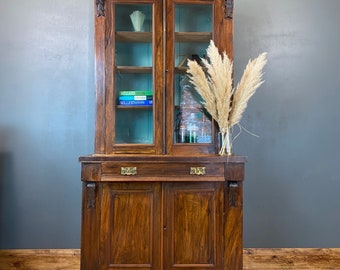 Antique Glazed Bookcase / Rustic Tall Cupboard / Cocktail Cabinet / Bookshelves