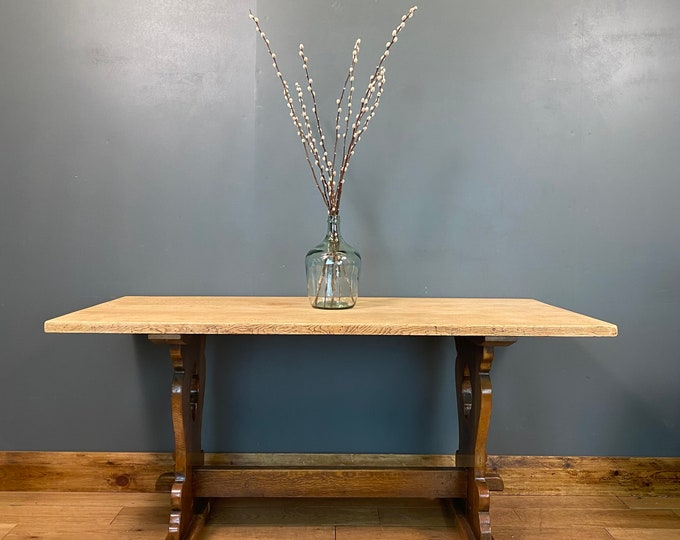 Vintage Refectory Table / Oak Dining Table / Rustic Farmhouse / Kitchen Table