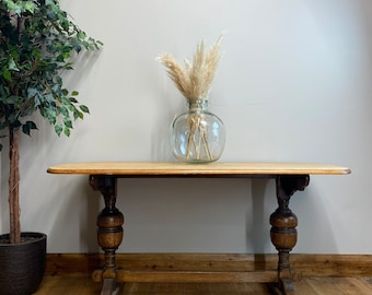 Vintage Refectory Dining Table / Rustic Oak Table / Farmhouse Kitchen Table