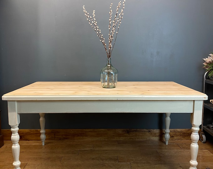 Vintage Solid Pine Table / Farmhouse Kitchen Table /Pine Dining Table / Painted