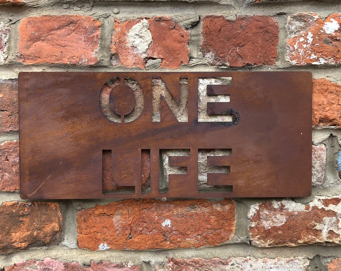 Rusted ONE LIFE Plaque Word Sign Metal Home Rustic Bar Kitchen Love House Life
