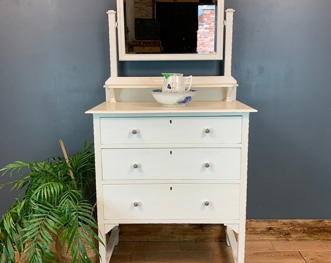 Vintage Dressing Table Chest Of Drawers Mirror Bedroom Dresser Shabby Chic