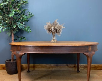 Antique Oak Dining Table / Rustic Oval Dining Table / Farmhouse Kitchen Table