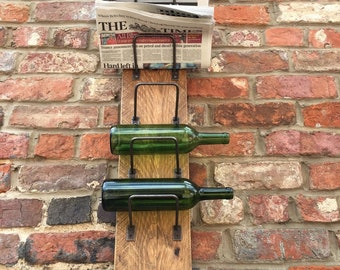 Reclaimed Wooden Pine Metal Rustic Newspaper Letter Wine Bottle Rack Holder