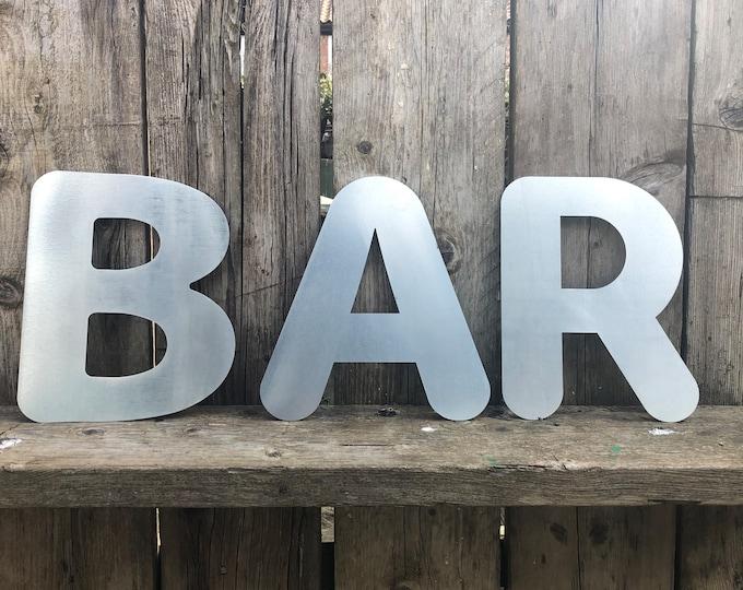 GARDEN BAR SIGN , galvanised metal letters , home bar sign , garden sign , rustic lettering, bobble font lettering , bbq sign , drinks sign