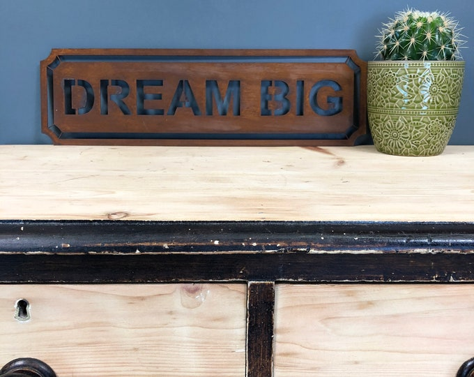 Rusted DREAM BIG Word Sign Metal Shop Home Rustic Pub Cafe Bar Cocktails Drinks