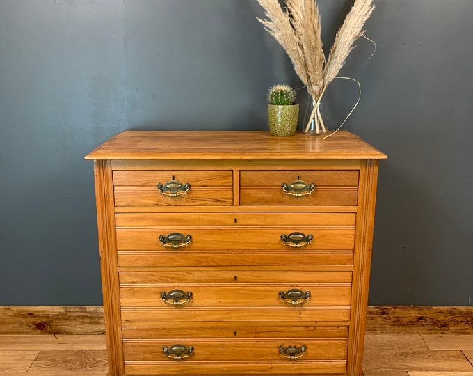Antique Arts & Crafts Storage Sideboard Chest Of Drawers Bedroom Walnut Rustic