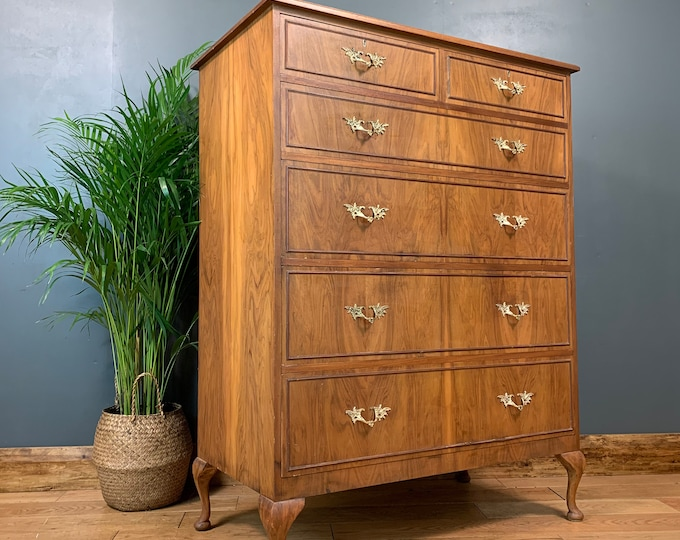 Vintage Tall Rustic Wooden Storage Sideboard Chest Of Drawers Bedroom