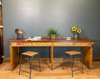 Vintage Kitchen Breakfast Bar/ Kitchen Table Island / School Lab Bench / Desk D