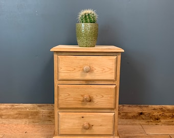 Pine Chest Of Drawers / Small Bedside Drawers / Rustic Drawers / Bedroom Storage