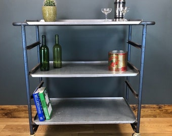 Upcycled Old Industrial Prison Trolley Sideboard Drinks Vintage Shelving Unit