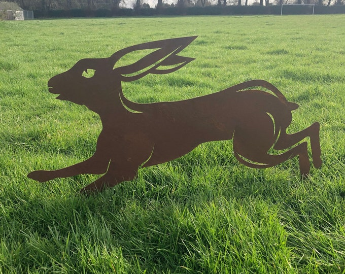 Garden ornament, Rusty Metal Running LEAPING HARE , garden Sign , Silhouette , Garden Feature. jumping hare , boxing hare , garden statue