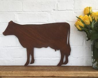 Rusty metal COW Sign , Metal Garden Ornament , rustic garden aniaml Decoration , Farmyard animals , kitchen sign , animal lover gift ,