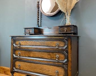 Antique Oak Chest Of Drawers/ Bedroom Dresser / Rustic Drawers / Bedroom Storage