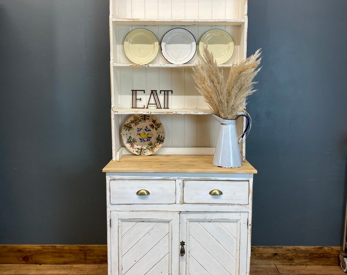 Antique Pine Dresser / Rustic Pine Kitchen Display/ Kitchen Pantry / Shabby Chic