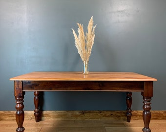 Vintage mahogany table Dining Kitchen Rustic Table Shabby Chic Distressed
