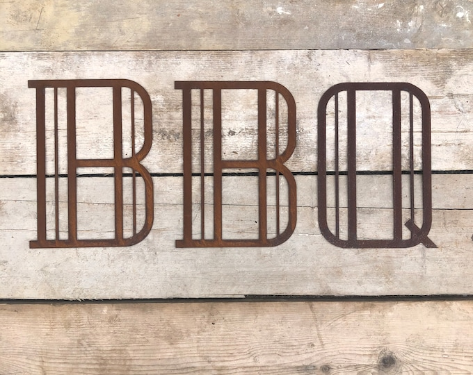 ART DECO BBQ sign , Rusty metal letters , home bar sign , garden sign , rustic lettering, rusted metal lettering , bar sign , bbq area