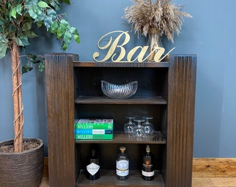 Vintage Art Deco Bookcase / Rustic Shelving / Gin Cabinet / Display / Home Bar
