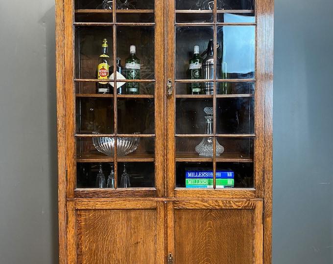 Vintage Oak Glazed Cabinet / Cocktail cabinet / Oak Display cupboard / Bookcase