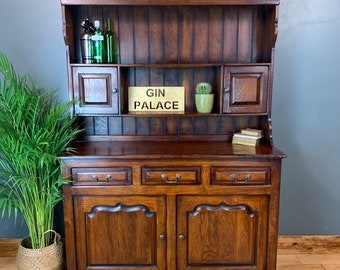 Vintage Solid Dark Oak Kitchen Bookcase Buffet Dresser Rustic Cocktail Cabinet