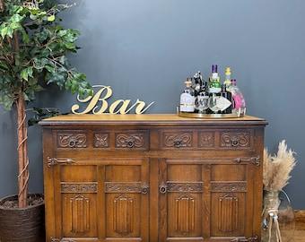 Vintage Linenfold Oak Sideboard / Rustic Home Bar / Oak Cupboard / Antique Oak