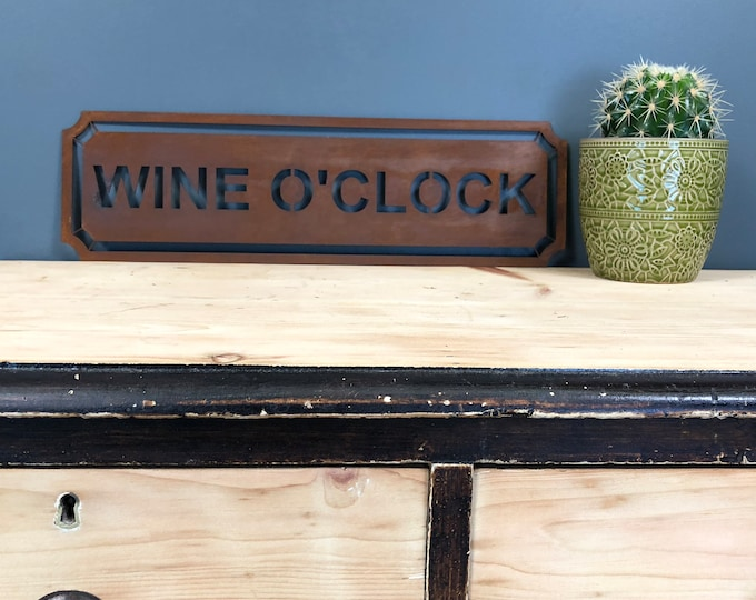 Rusted WINE O CLOCK Word Sign Metal Shop Home Rustic Pub Cafe Bar Cocktails Drinks