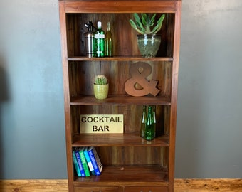 Rustic Tall Dark Wood Vintage Bookcase Shelves Shelving Storage Cocktail Drinks