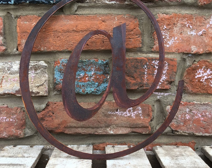 A @ Rusty metal letters, shop signage, initials, house garden sign name, lettering, rusted, industrial, vintage, numbers barbers, home, love