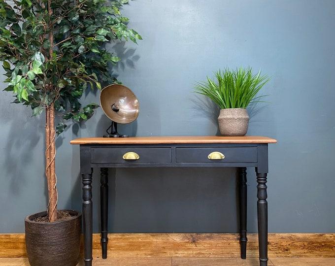 Vintage Sideboard / Black Sideboard/ Rustic Console Table / Painted Desk