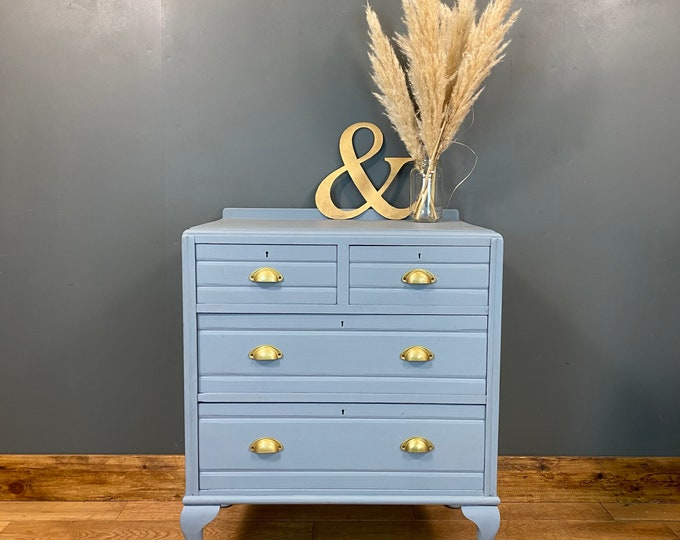 Antique Chest Of Drawers / Painted Drawers / Light Blue  / Bedroom Storage