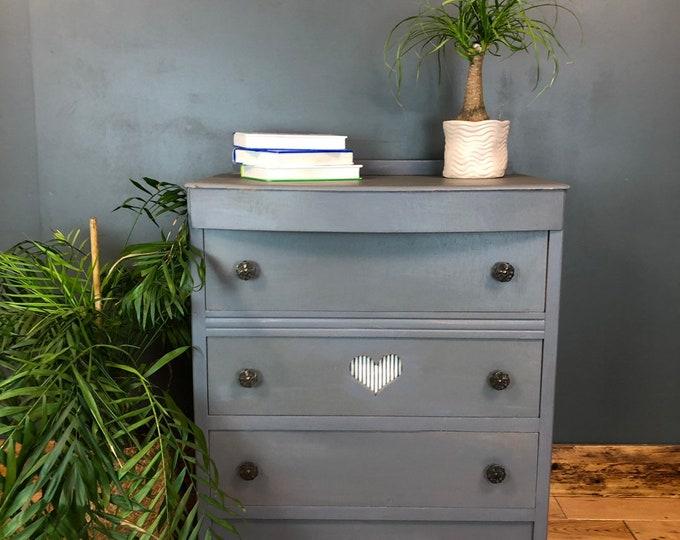 Boho Scandi Drawers Rustic Vintage Painted Shabby Chic Storage Grey/blue Heart