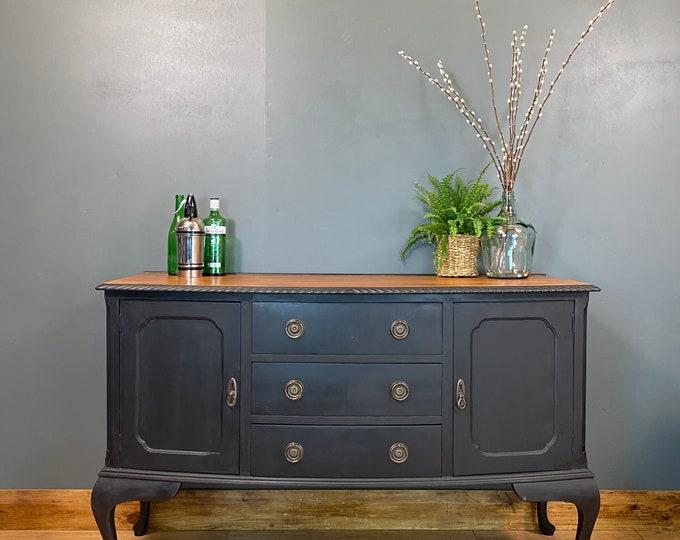 Vintage Sideboard / Painted Sideboard / Shabby Chic Cabinet / Black Cupboard