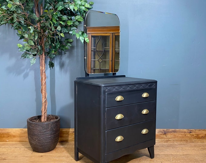 Vintage Chest Of Drawers / Bedroom Dresser / Black Chest Of Drawers / Mirrored
