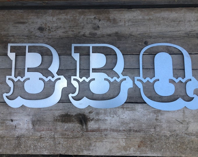 STEEL BBQ SIGN In Carnival letters, vintage bar decor , garden bar sign , home bar sign , bar accessories, rustic lettering , metal letters