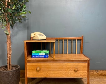 Telephone Seat / Vintage Monks Bench/ Retro Chair /Telephone Stand / Sideboard