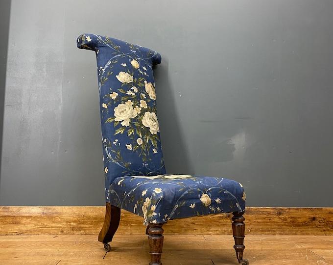Antique Prayer Chair  / Victorian Armchair / Mahogany Prie Dieu Chair