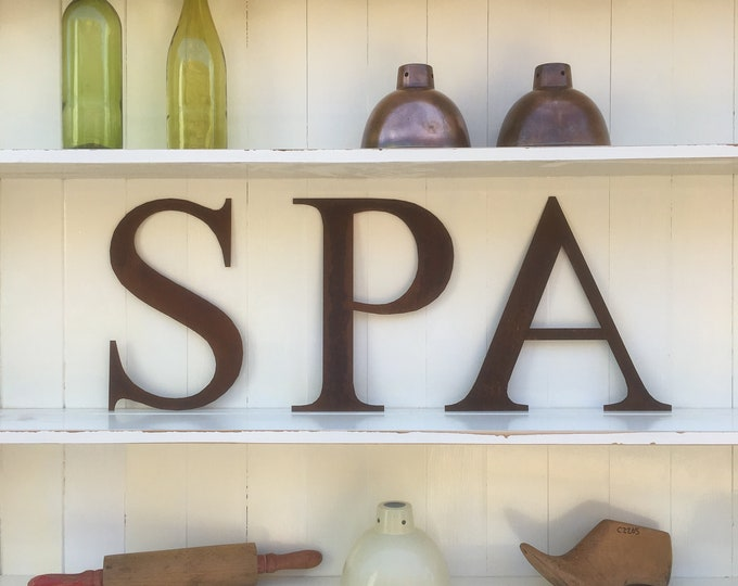 SPA in Rusty metal letters, shop signage, home sign , house sign , garden name, rusty lettering, NAIL BAR sign, vintage sign , salon sign ,