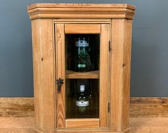 Old Pine Cupboard / Corner Cupboard / Wall Cupboard / Vintage Cupboard / Rustic