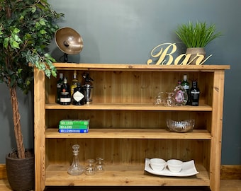 Vintage Large pine Bookcase /Rustic Shelving Unit / Drinks Cabinet /Display unit