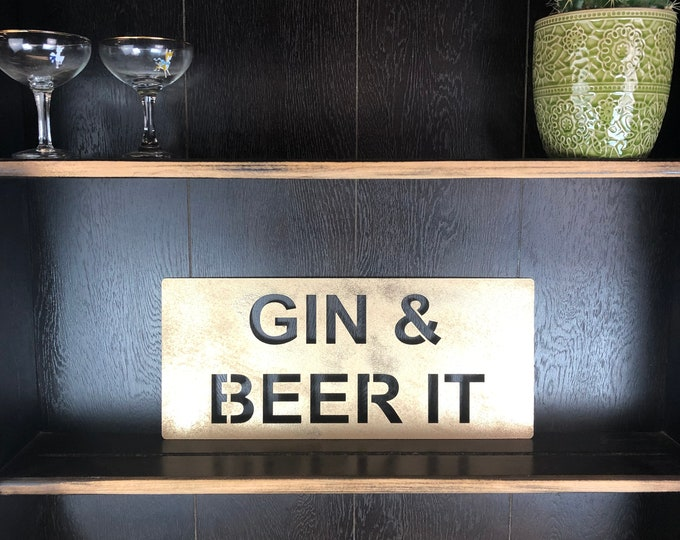 Gold GIN & BEER IT Plaque Word Sign Metal Shop Home Rustic Pub Cafe Bar Cocktails Drinks Rum