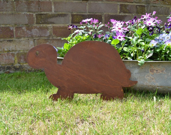 Rusty metal turtle tortoise metalwork silhouette plaque wall decor shop sign signage art