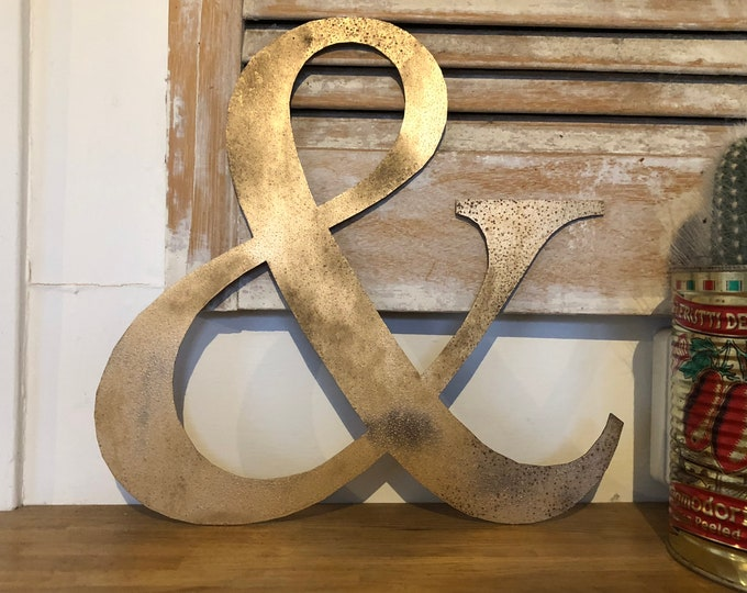 Rustic gold & metal letter. initials, house name, lettering, rusted, coffee shop, eat numbers, barbers, home, love, gin tea