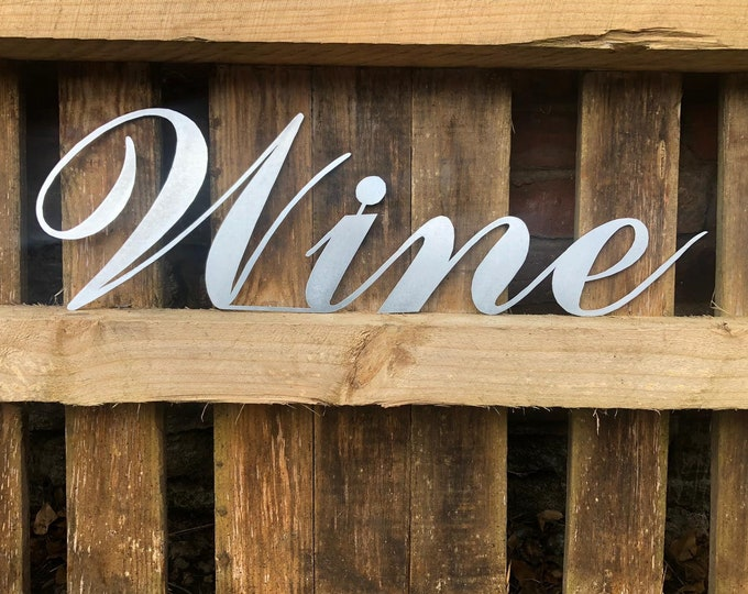 Steel WINE Word Sign / Home bar Sign/ Pub Lettering / Metal Signage Drinks